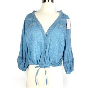 FREE PEOPLE Follow Your Heart Top Medium chambray